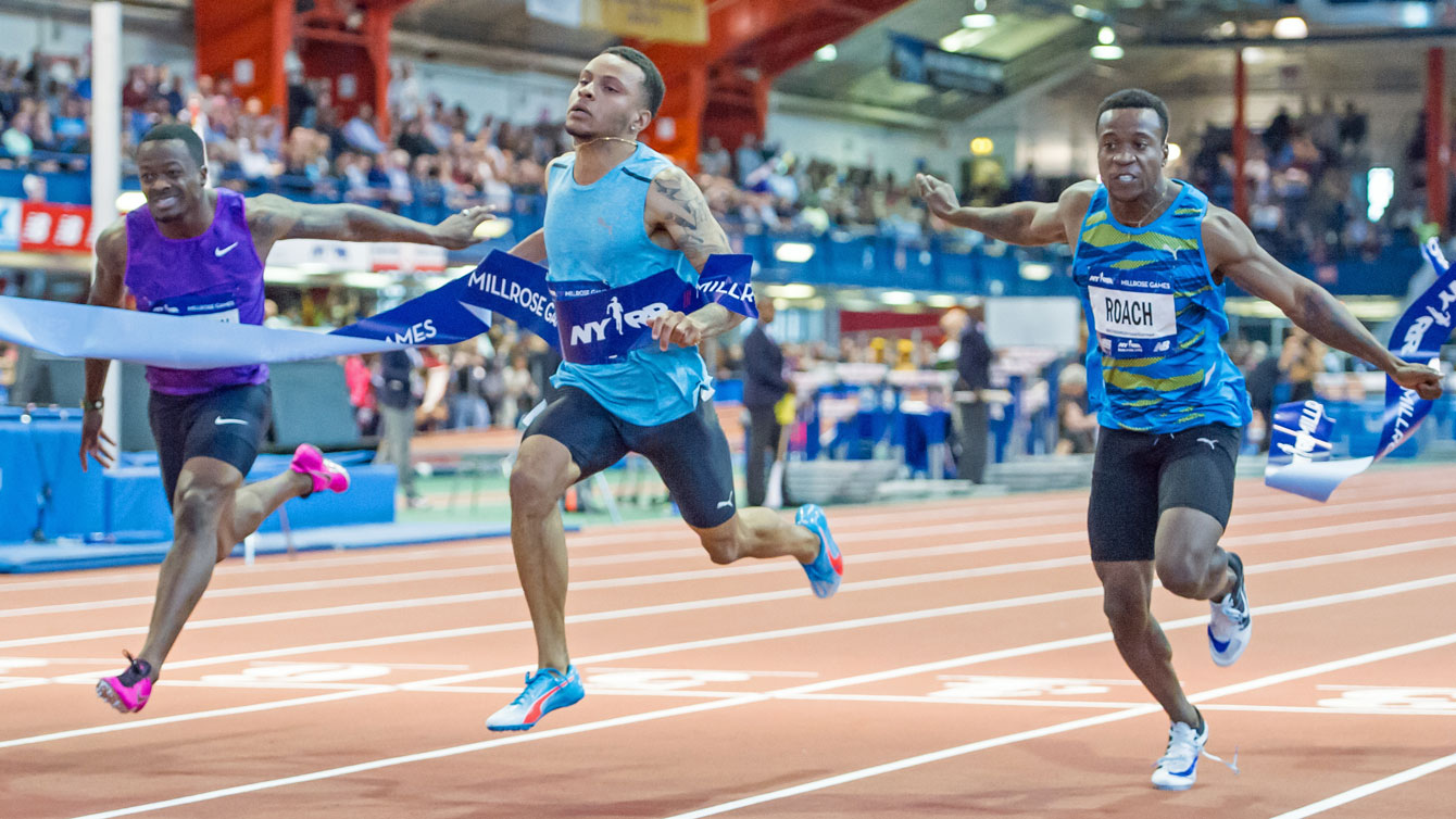 Andre De Grasse wins the 60m race at the 2016 Millrose Games in New York City on February 20, 2016 (Photo: Robert Lombardo).
