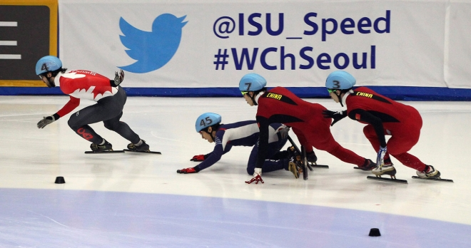 Collision in a short track speed skating event