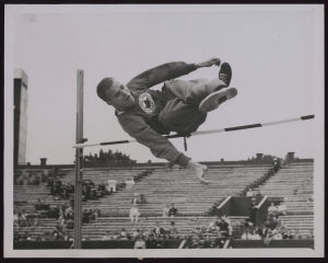 Canadian man goes sideways over high jump bar