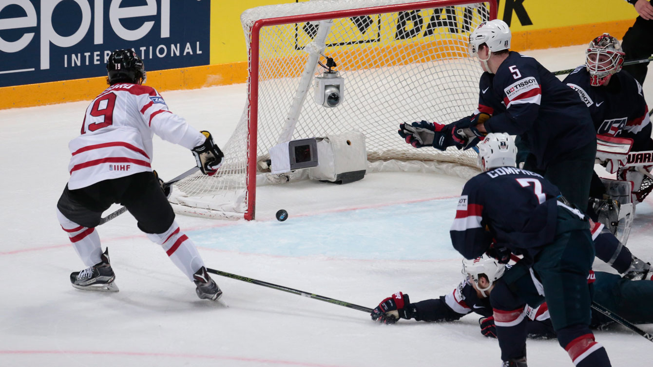 Derick Brassard scores against USA at the IIHF worlds semifinal on May 21, 2016.