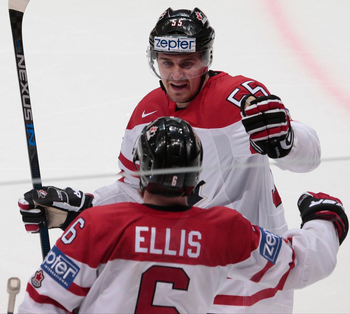 Ryan Ellis celebrates his game winning goal at IIHF worlds semifinal with Mark Scheifele on May 21, 2016.