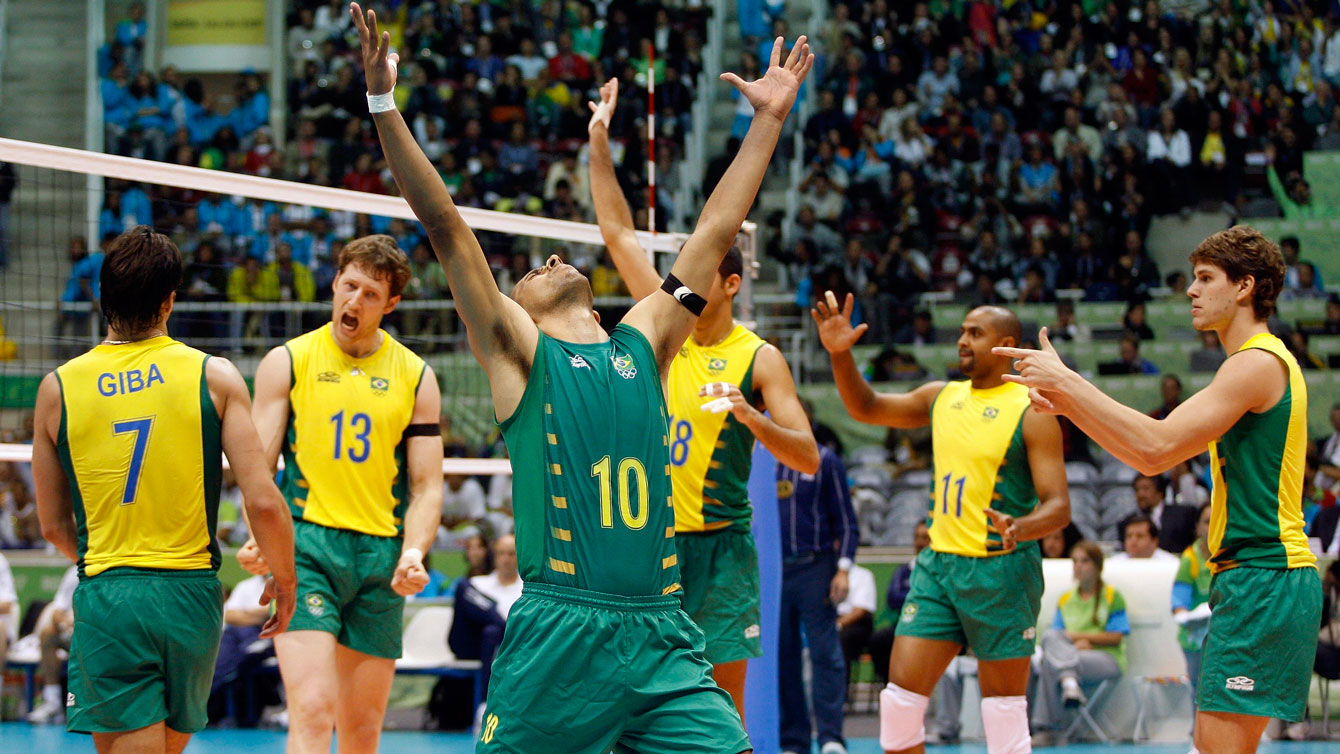 Brazil's players celebrate winning the gold medal of the Pan American Games men's volleyball competition