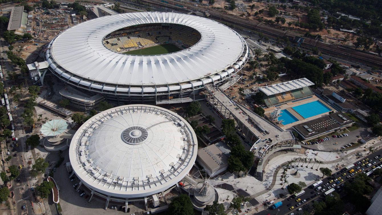 Maracanazinho (domed) next to the Maracana in Rio de Janeiro.