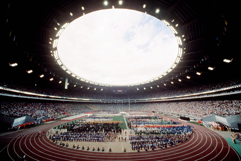 Inside the Olympic Stadium in Montreal during the 1976 Olympic Games. (CP Photo/ COC/ RW) Cette photo montre une vue de l'intérieur du Stade olympique lors des Jeux olympiques de Montréal de 1976. (Photo PC/AOC)