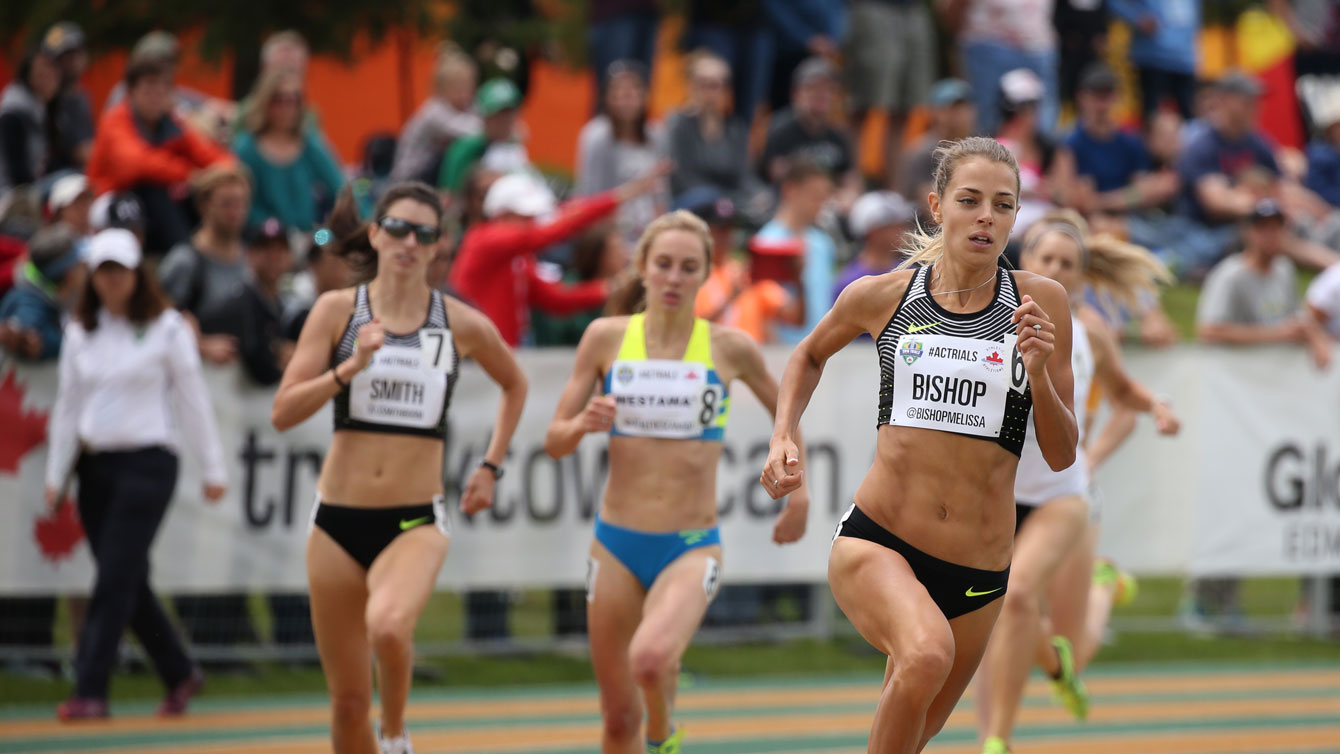 Melissa Bishop runs in the 800m final at Olympic trials on July 10, 2016.