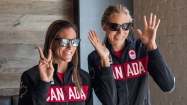 Jamie Broder (left) and Kristina Valjas at the Rio 2016 beach volleyball nomination announcement on July 20, 2016.