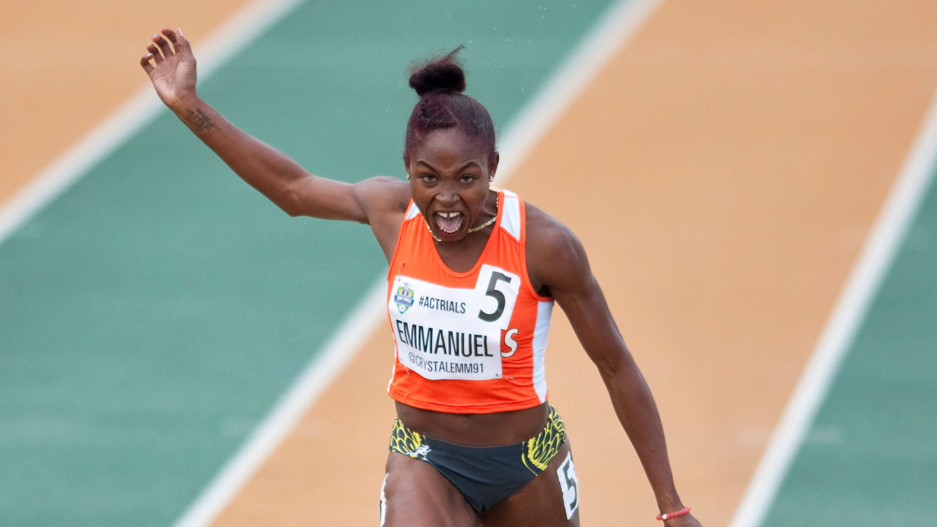 Crystal Emmanuel wins the women's 200m final at Olympic trials on July 10, 2016.