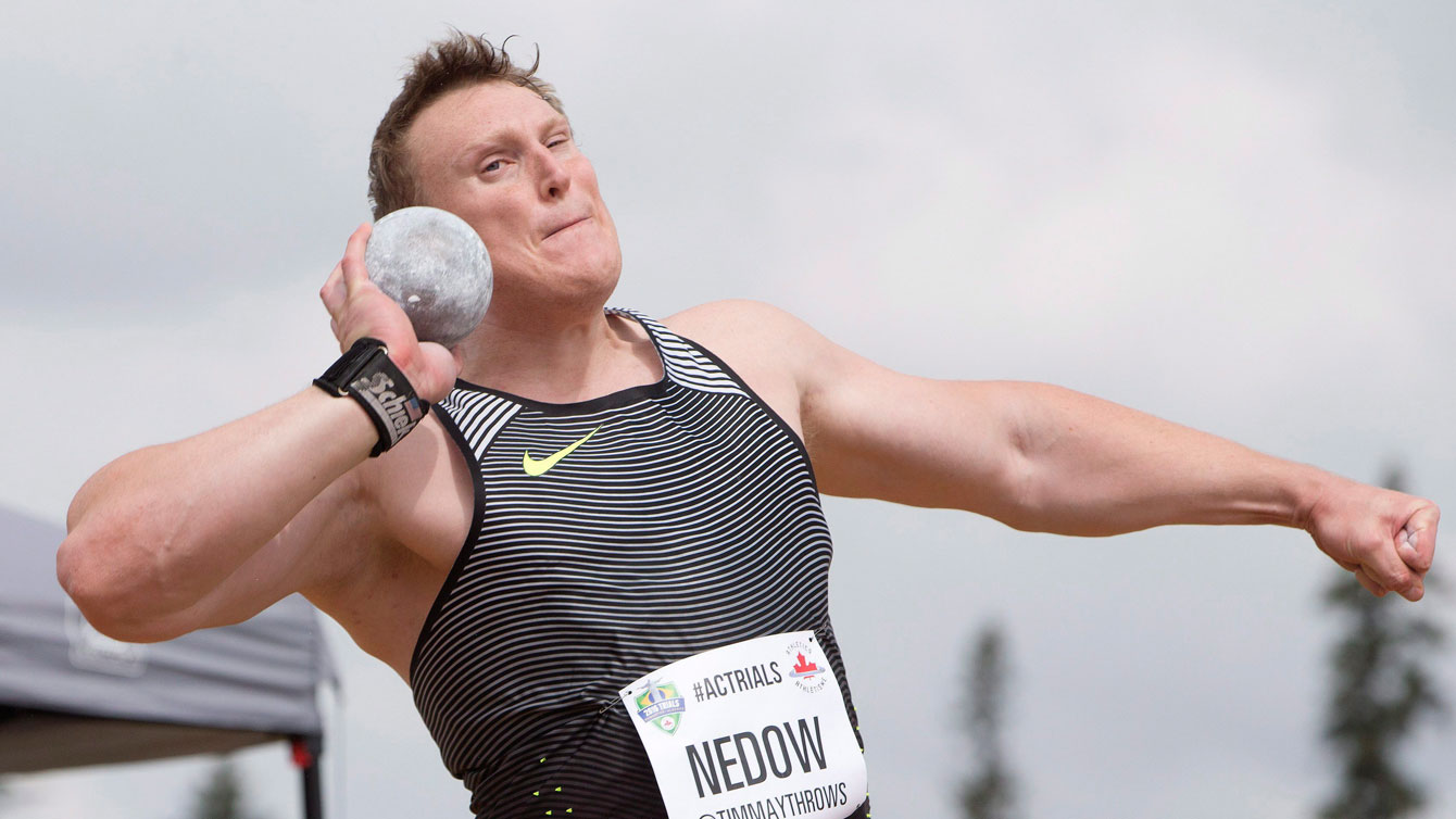 Tim Nedow just before throwing a shot put during Olympic trials on July 10, 2016.