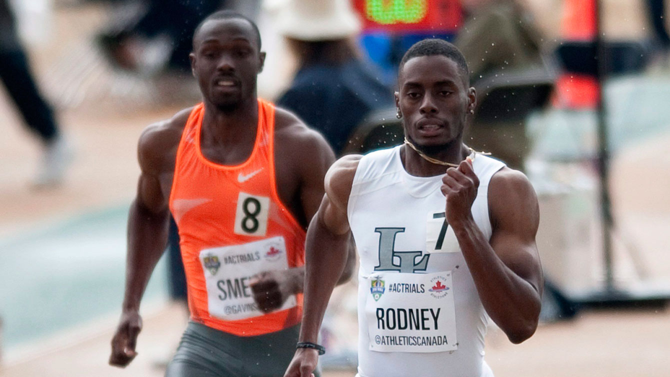 Brendon Rodney (right) in the men's 200m semifinals at Olympic trials on July 10, 2016.