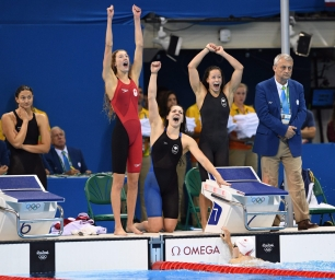 Canada's Taylor Ruck, left to right, Brittany MacLean, Katerine Savard and Penny Oleksiak take bronze in the women's 4 x 200m freestyle relay during the 2016 Olympic Summer Games in Rio de Janeiro, Brazil in Wednesday, Aug. 10, 2016. THE CANADIAN PRESS/Sean Kilpatrick