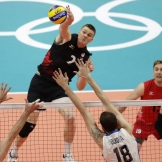 Gordon Perrin goes up for a spike