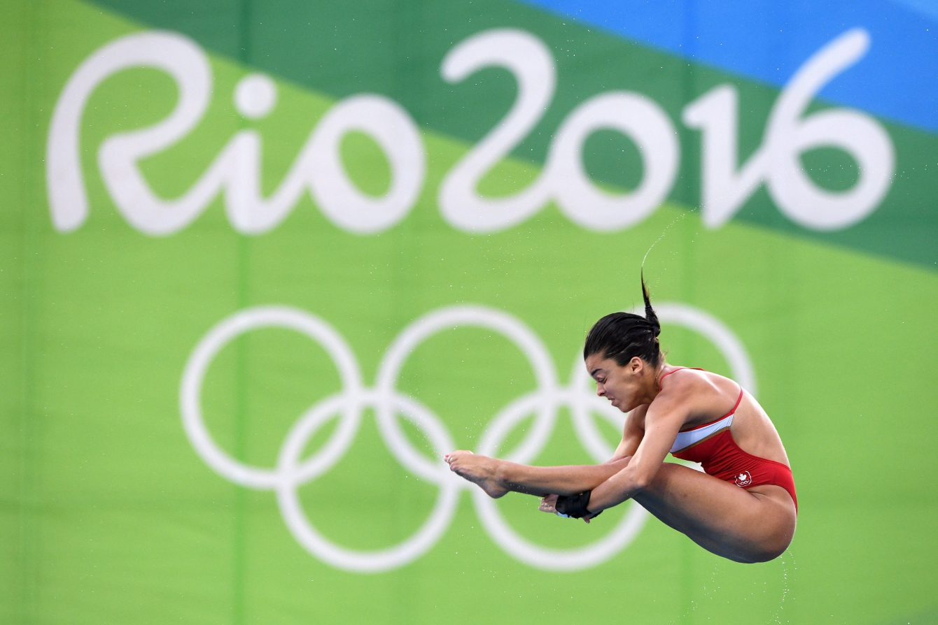 Meaghan Benfeito dives during the women's 10-metre platform diving final at the 2016 Olympic Summer Games in Rio de Janeiro, Brazil on Thursday, Aug. 18, 2016. THE CANADIAN PRESS/Sean Kilpatrick