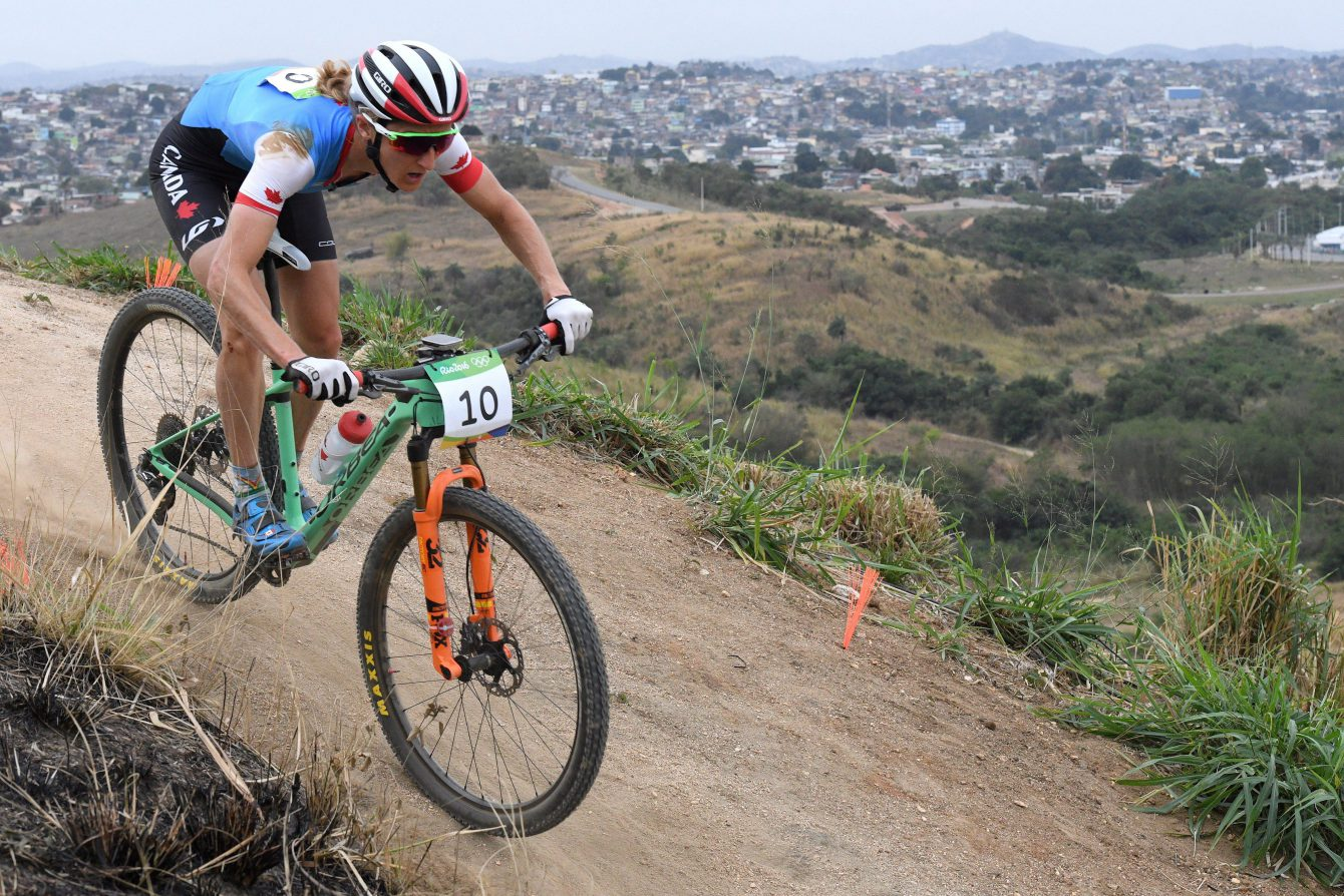 Canada's Catharine Pendrel competes during the women's mountain bike final at the 2016 Olympic Summer Games in Rio de Janeiro, Brazil on Saturday, Aug. 20, 2016. THE CANADIAN PRESS/Sean Kilpatrick