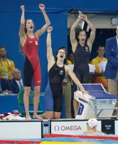 Canada's 4x200m freestyle relay team reacts to winning bronze at Rio 2016.
