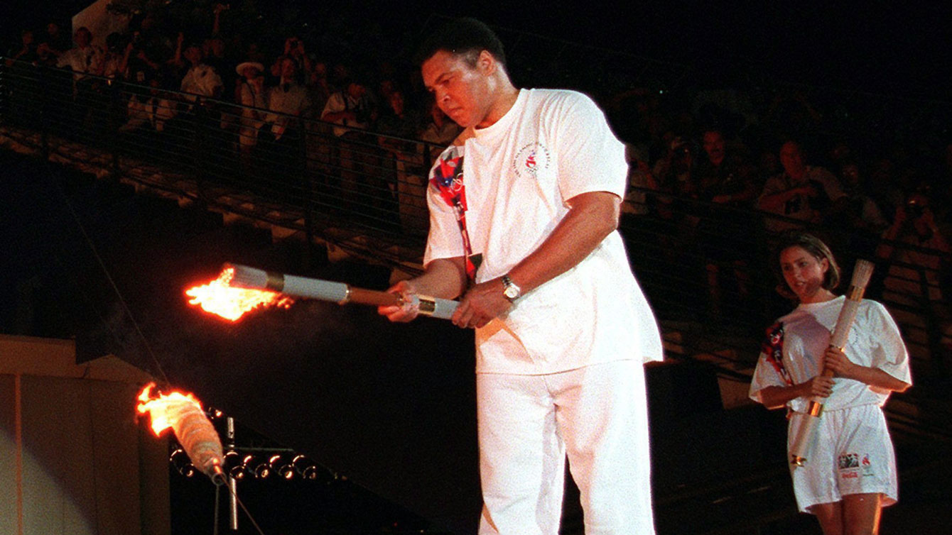 Muhammad Ali lights the Olympic flame in Atlanta on July 19, 2016.