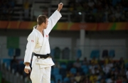 Canada's Antoine Valois-Fortier celebrates his win over Emmanuel Lucenti of Argentina during second-round judo action at the Olympic games in Rio de Janeiro, Brazil, Tuesday, August 9, 2016. COC Photo/Jason Ransom