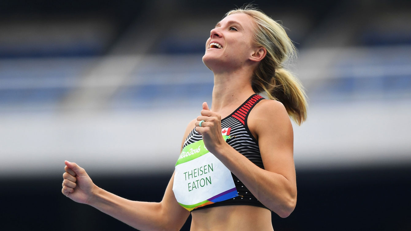 Theisen-Eaton celebrating after event