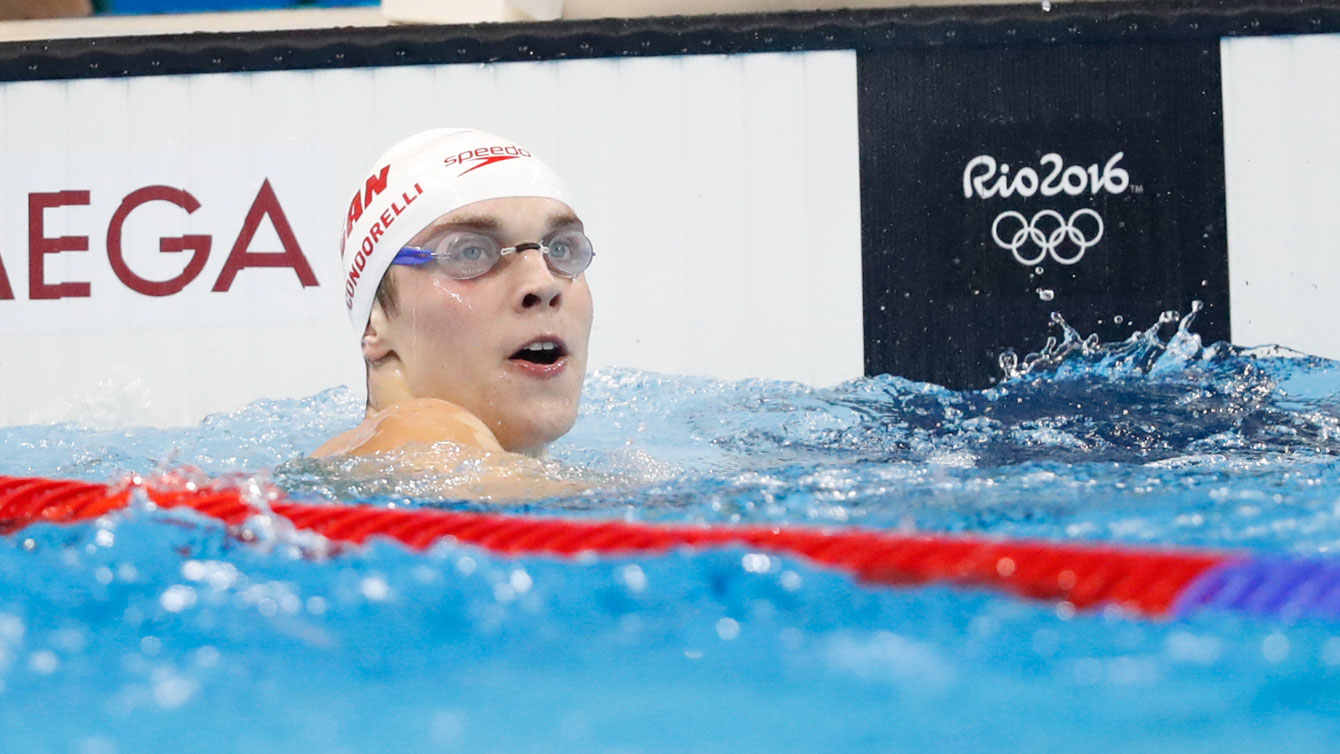 Santo Condorelli at the Rio 2016 Olympic 100m freestyle semifinal on August 9, 2016.