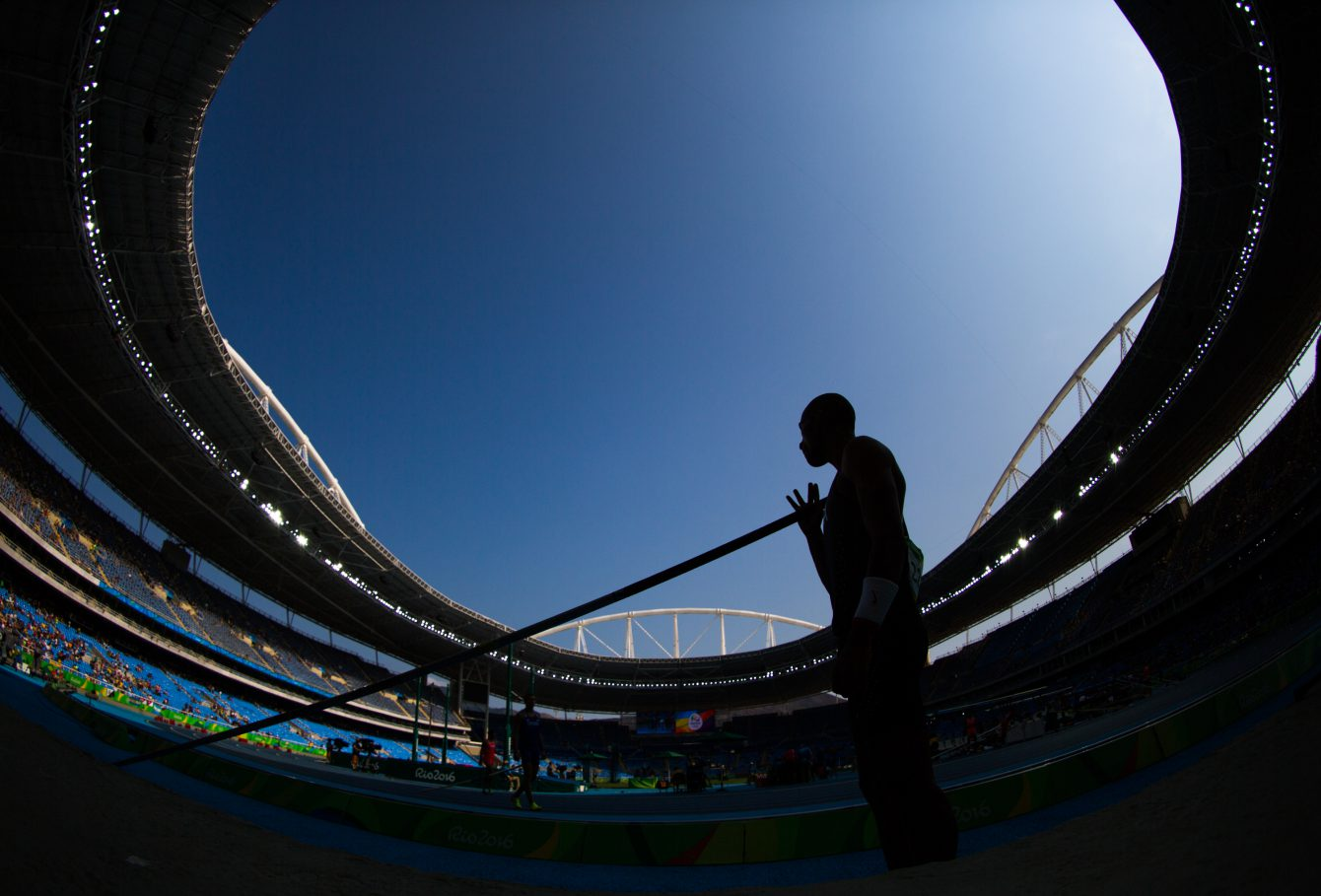 Canada's Damian Warner looks on before competing in the pole vault in the men's decathlon at the Olympic games in Rio de Janeiro, Brazil, Thursday August 18, 2016.    COC Photo/Mark Blinch