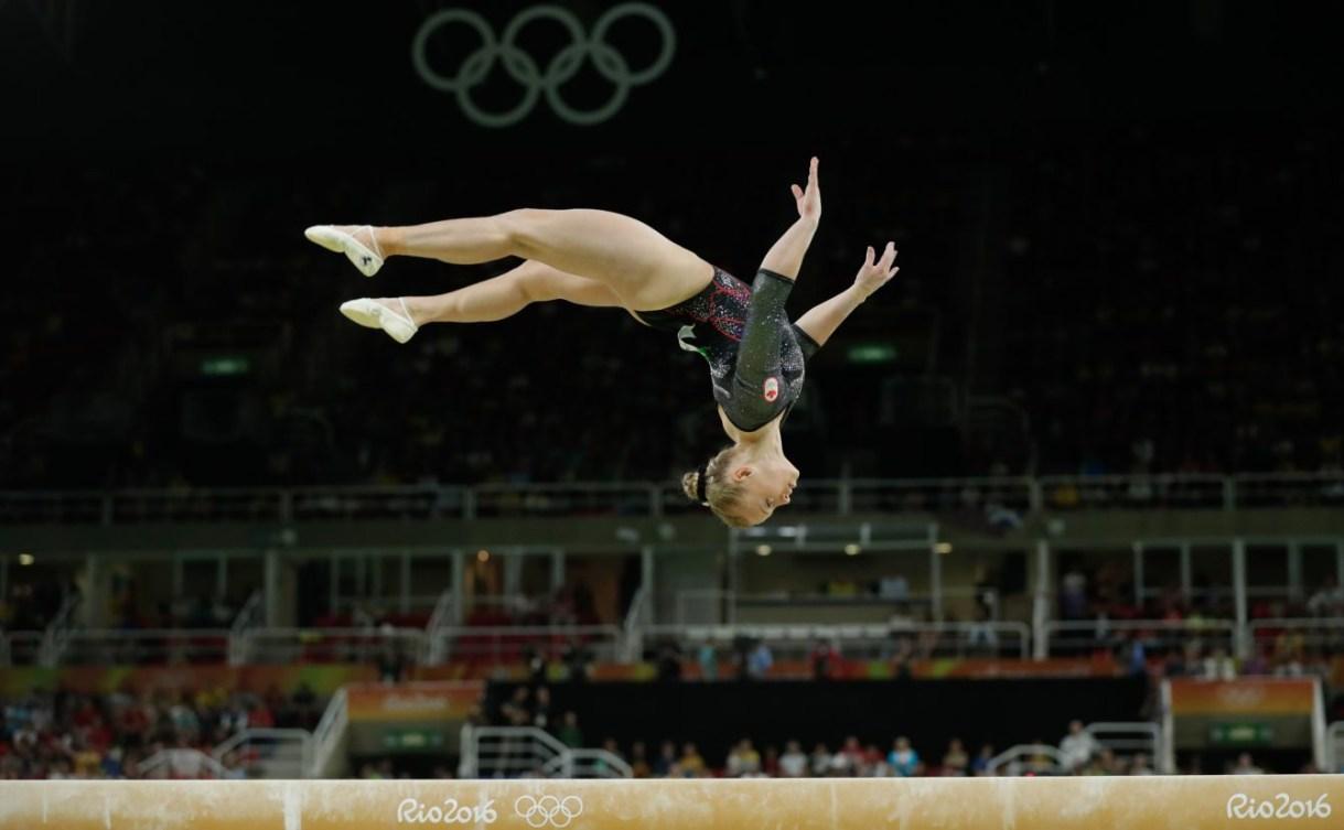 Ellie Black competes on beam at Rio 2016