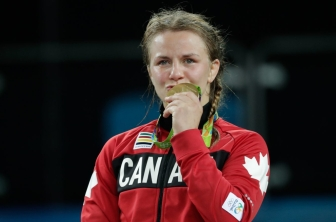 Erica Wiebe with her gold medal