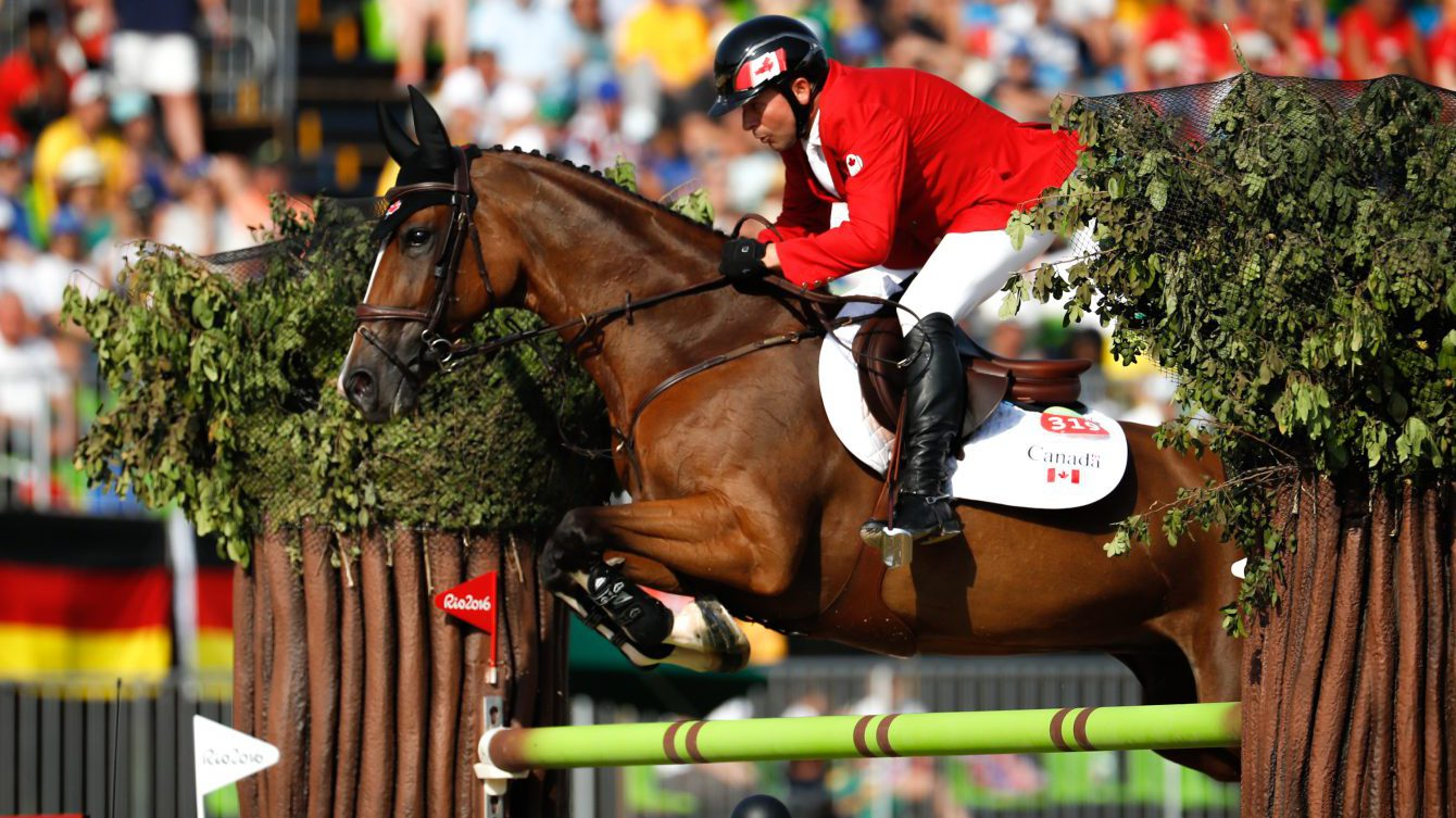 Eric Lamaze in the jump-off resulting in a bronze medal during Rio 2016. (COC/ Mark Blinch)