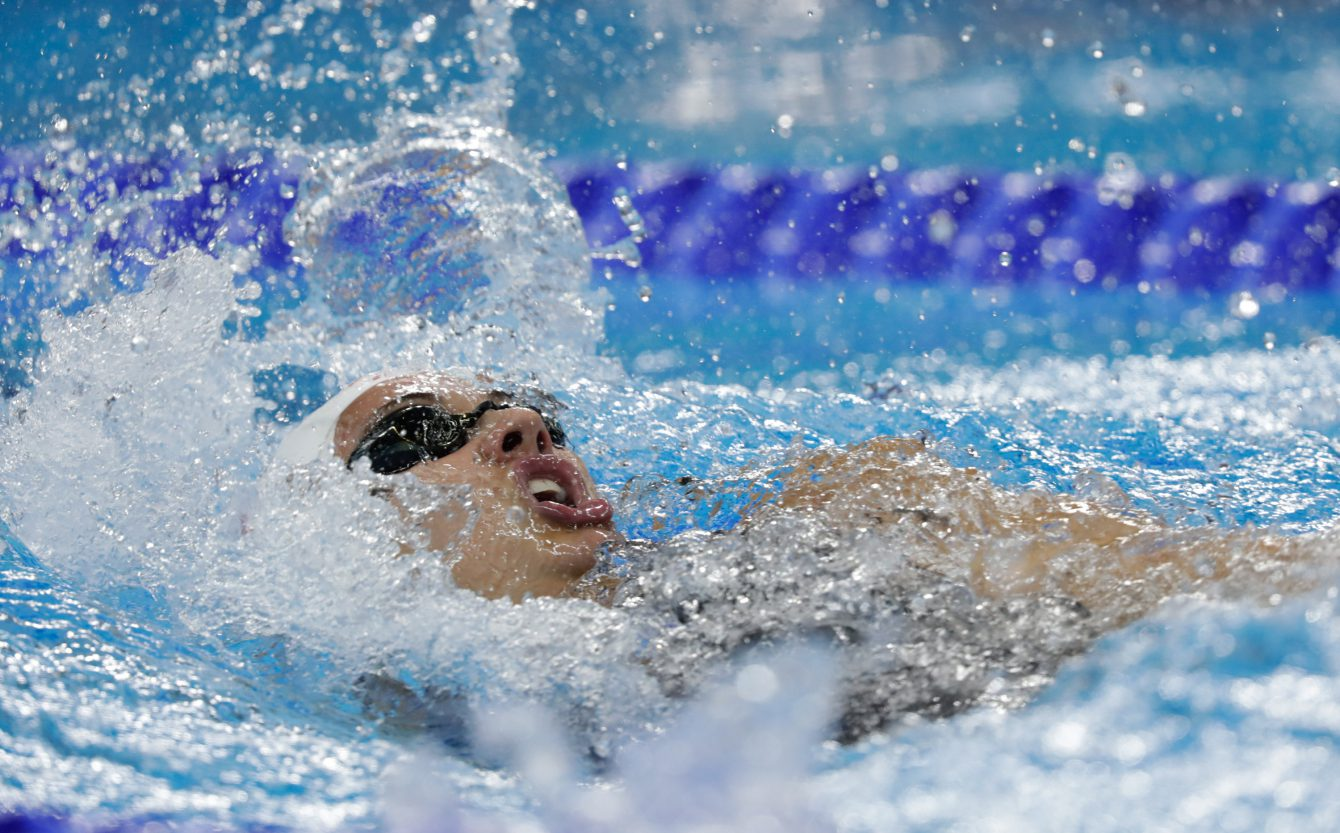 Canada's Kylie Masse competes in the during women's 100 backstroke semifinal swimming at the Olympic games in Rio de Janeiro, Brazil, Monday August 8, 2016. COC Photo/Mark Blinch