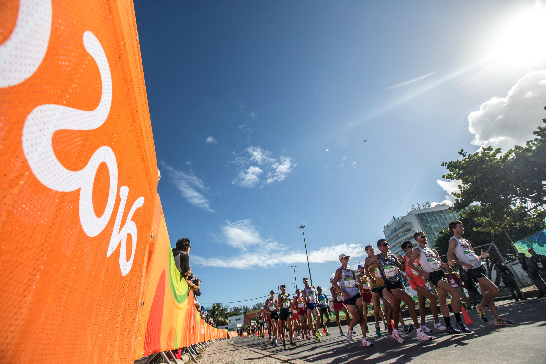Team Canada's Ben Thorne, Evan Dunfee, and Inaki Gomez during the 20km race walk at Pontal Beach, Rio de Janeiro, Brazil, Friday August 12, 2016. COC Photo/David Jackson