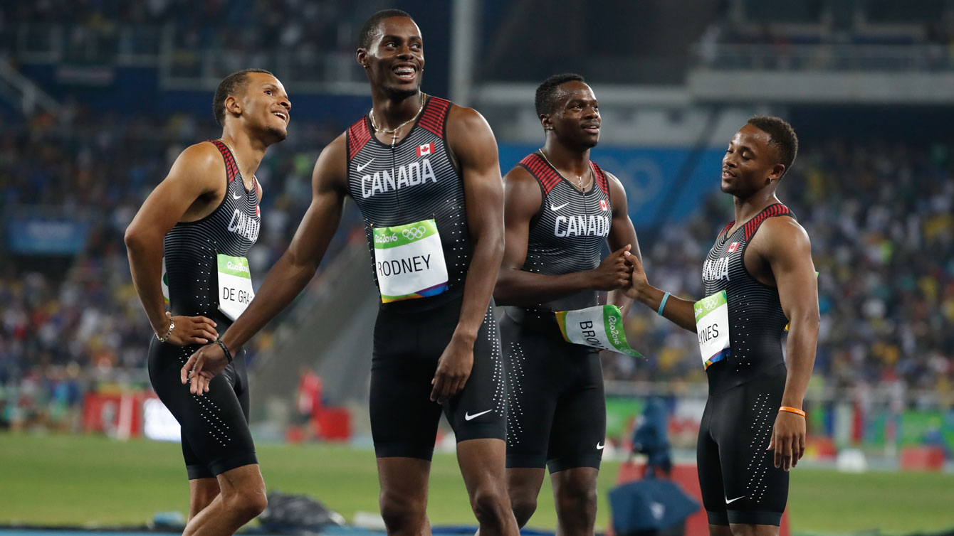 (L-R) Andre De Grasse, Brendon Rodney, Aaron Brown and Akeem Haynes.