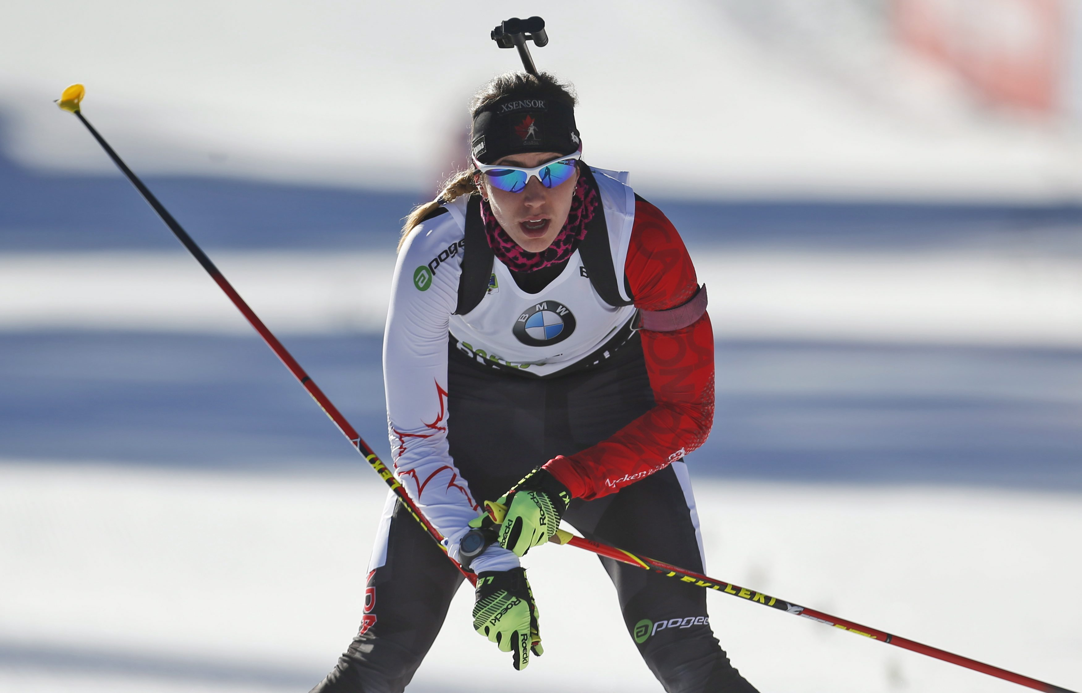 Canada's Rosanna Crawford enters the finish area to place seventh in the women's 10 km pursuit competition at the Biathlon World Cup event, in Pokljuka, Slovenia, Saturday, Dec. 20, 2014. (AP Photo/Darko Bandic)