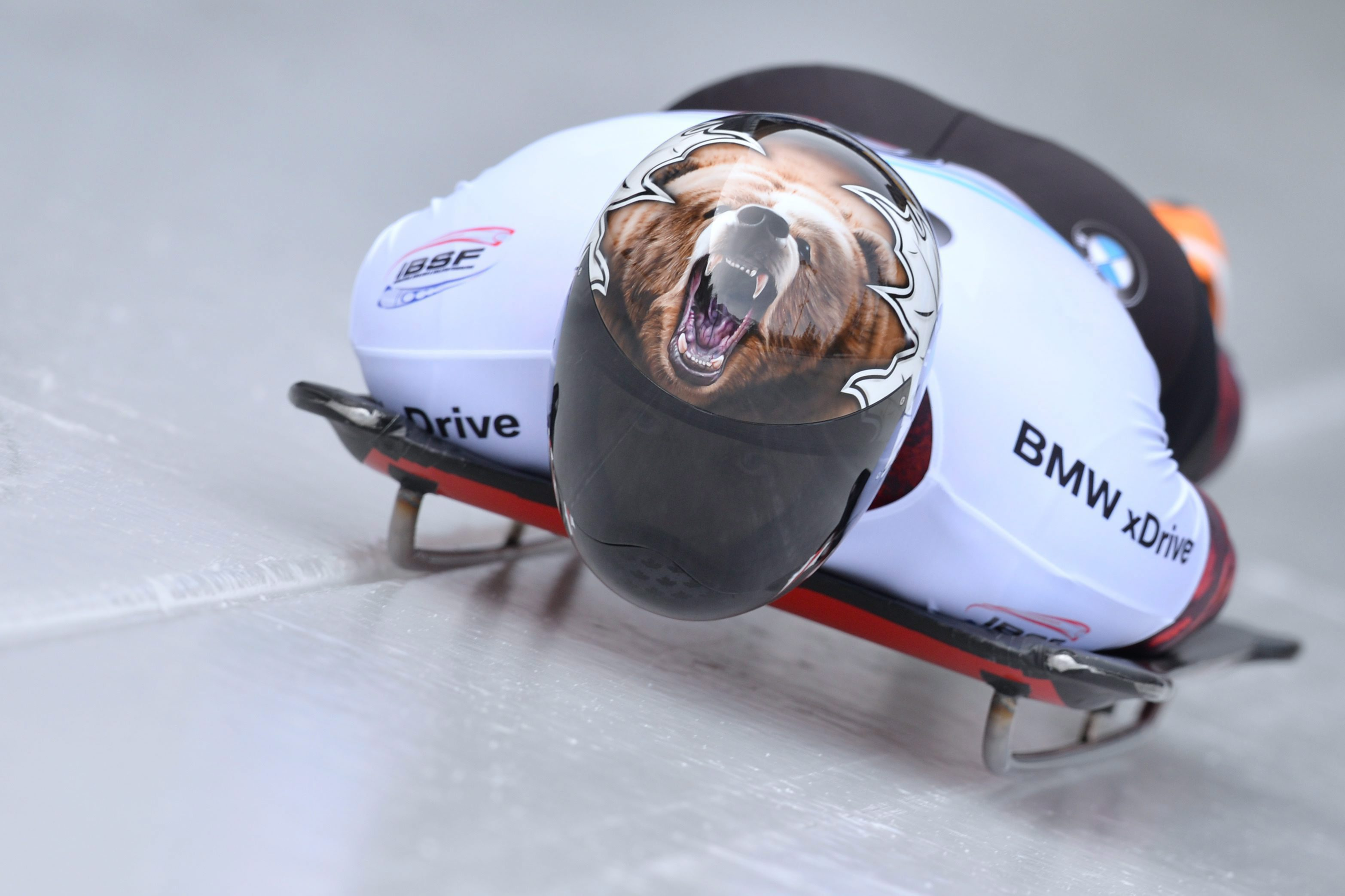 Dave Greszczyszyn of Canada speeds down the track during his first run of the men's Skeleton World Cup race in Koenigssee, southern Germany, Saturday, Feb. 27, 2016. (AP Photo/Kerstin Joensson)