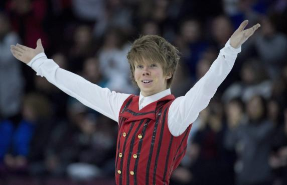 Kevin Reynolds of Canada performs in the Men's Short Program during the 2016 Skate Canada International competition in Mississauga, Ont., on Friday, October 28, 2016. THE CANADIAN PRESS/Nathan Denette