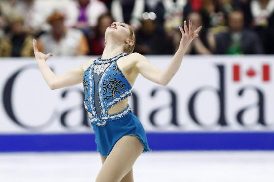 Canada's Alaine Chartrand performs in the Women's Free Skating Program during the 2016 Skate Canada International competition in Mississauga, Ont., on Saturday, October 29, 2016. THE CANADIAN PRESS/Mark Blinch