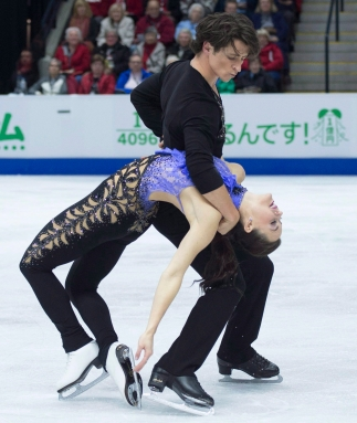 Tessa Virtue and Scott Moir of Canada perform in the ice dance short program during the 2016 Skate Canada International competition in Mississauga, Ont., on Friday, October 28, 2016. THE CANADIAN PRESS/Nathan Denette