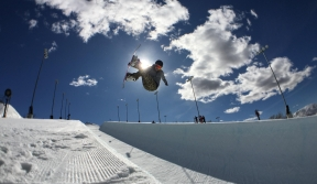Mercedes in the halfpipe in Calgary in March 2016