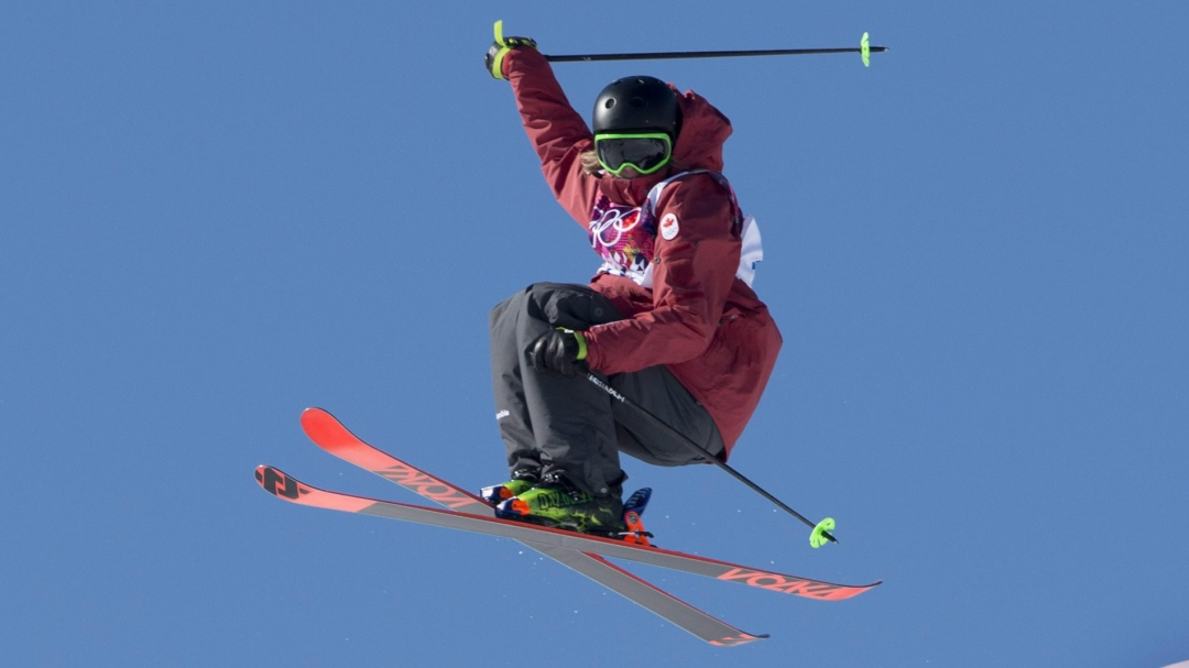 Skier performing trick in the air