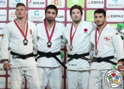 Etienne Briand (second from right) after winning his first IJF Grand Slam bronze in Ekaterinburg, Russia on May 21, 2017 (Photo: IJF).