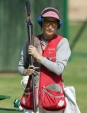 Cynthia Meyer competes in trap shooting at the summer Olympic Games Monday August 16, 2004 in Athens, Greece. Photo: CP PHOTO/Adrian Wyld