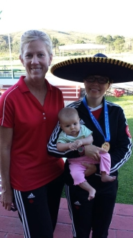 Lynda Kiejko (with the sombrero) and her daughter Olivia at the Pan American Championships in 2014. Photo: Lisa Borgerson