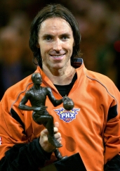 Phoenix Suns' Steve Nash of Canada holds his NBA MVP trophy prior to their Western Conference semifinals game against the Dallas Mavericks Monday, May 9, 2005, at America West Arena in Phoenix.(AP Photo/Matt York)