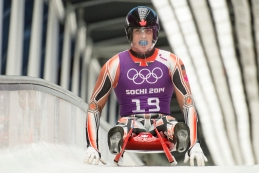 John Fennell completes a training run on February 5, 2014 in Sochi.