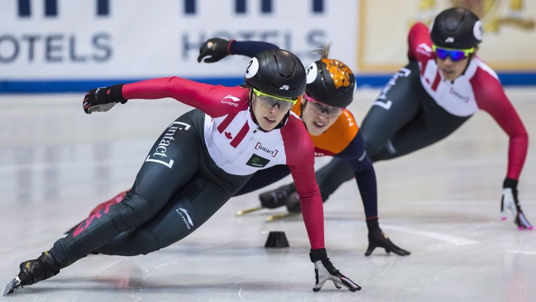 Short track skaters turning