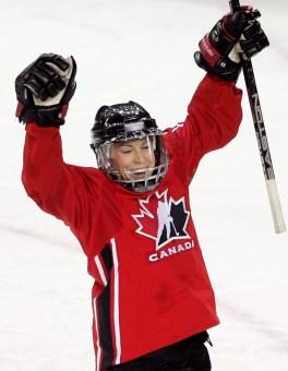 Canada's Jayna Hefford celebrates her goal