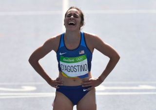United States' Abbey D'Agostino after competing in a women's 5000-meter heat during the athletics competitions of the 2016 Summer Olympics at the Olympic stadium in Rio de Janeiro, Brazil, Tuesday, Aug. 16, 2016. (AP Photo/Martin Meissner)