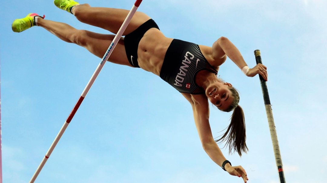 Alysha Newman competing in pole vault