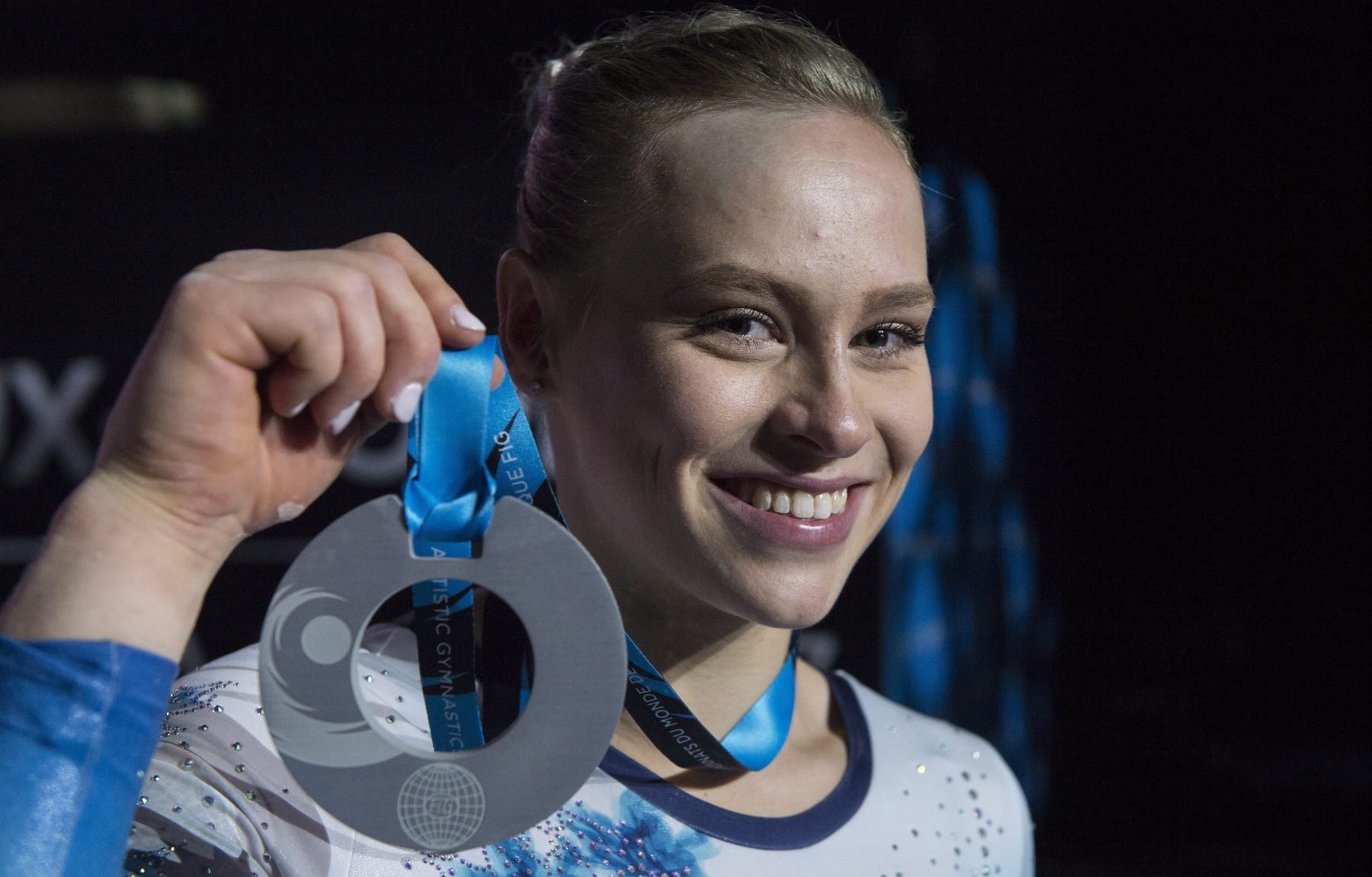 Ellie Black holds her silver medal from the 2017 World Championships