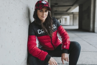 Kelsey Serwa wears Hudson's Bay PyeongChang 2018 Olympic and Paralympic Collection