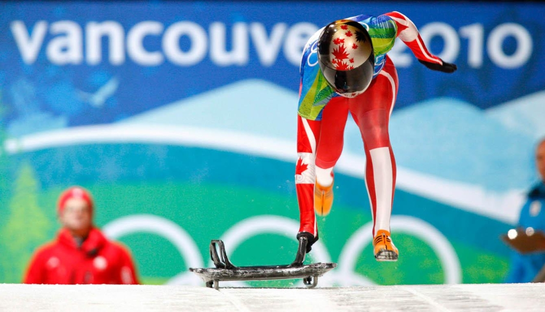 Team Canada - Michelle Kelly starts her run during the women's skeleton competition at the 2010 Vancouver Olympic Winter Games