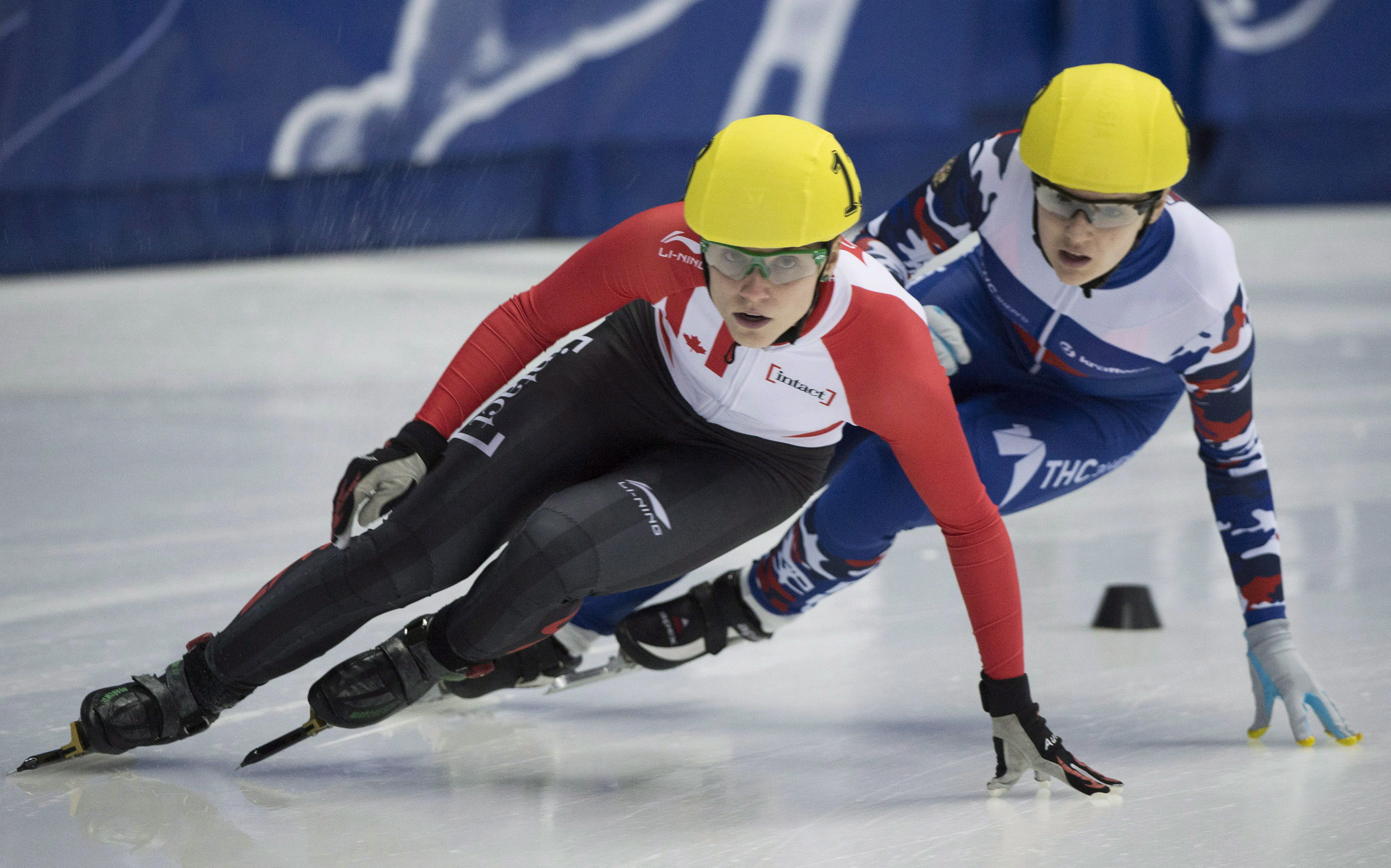 Team Canada - Kasandra Bradette takes a turn at the ISU World Cup short-track speedskating competition in Montreal