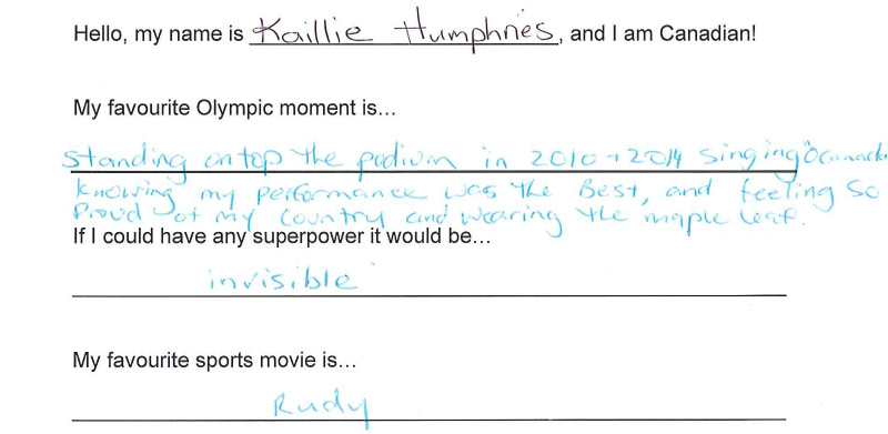Team Canada - Kaillie Humphries hi my name is response 1